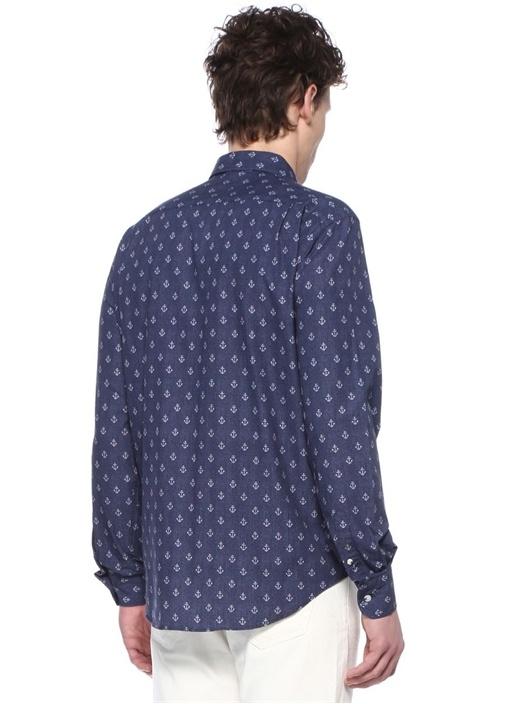 Comfort Fit Lacivert Düğmeli Yaka Jakarlı Gömlek