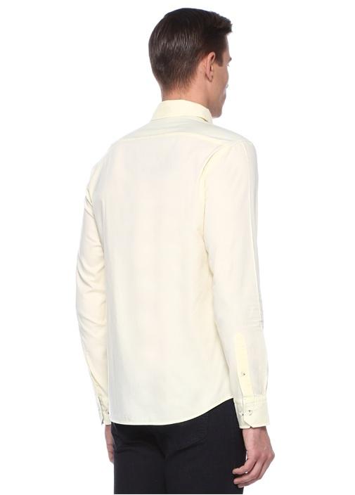 Slim Fit Sarı Düğmeli Yaka Oxford Gömlek
