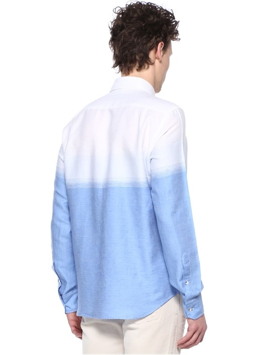 Comfort Fit Düğmeli Yaka Degradeli Keten Gömlek