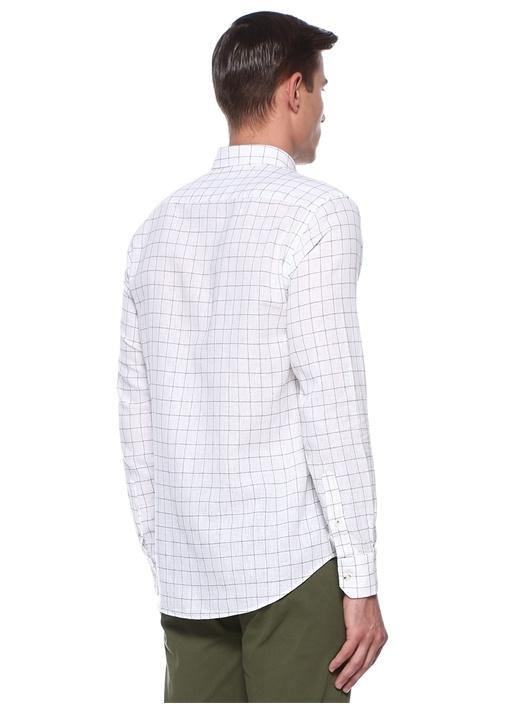 Slim Fit Beyaz Düğmeli Yaka Bukle Ekoseli Gömlek