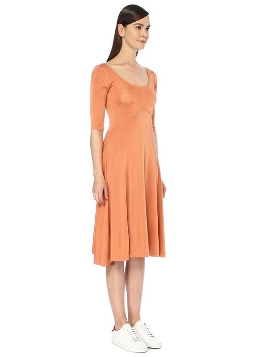 Turuncu Kayık Yaka Yarım Kol Midi Elbise