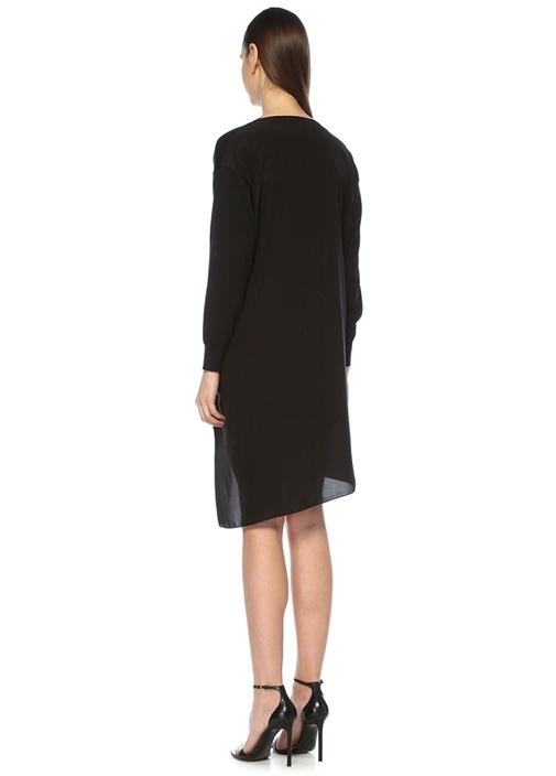 Siyah V Yaka İpek Garnili Midi Triko Elbise
