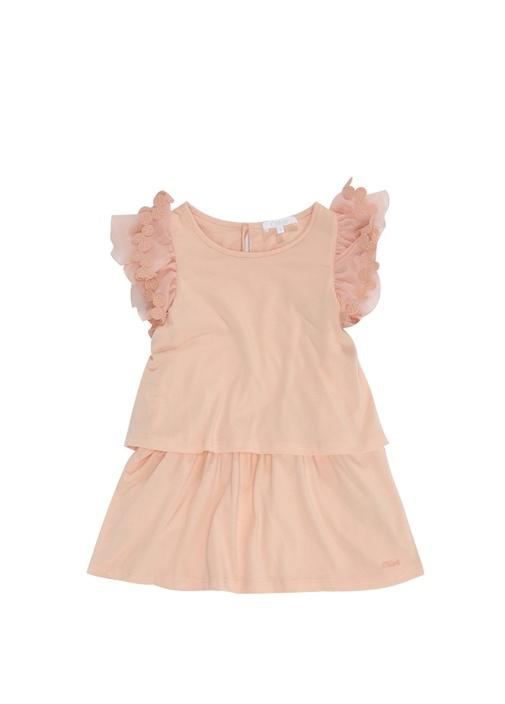 Somon Kolları Dantelli Fırfırlı Kız Çocuk Elbise