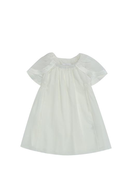 Beyaz Yaka Detaylı Kız Çocuk İpek Elbise