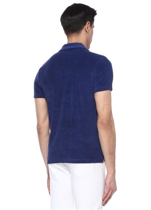 Lacivert Polo Yaka Havlu Dokulu T-shirt
