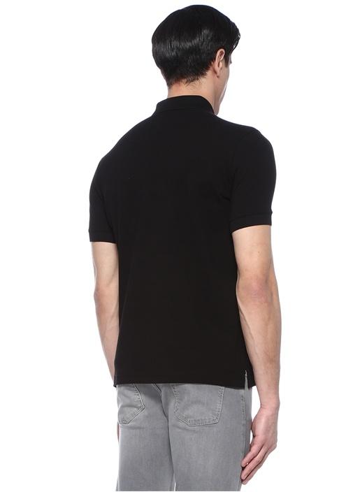 Siyah Polo Yaka Pike Dokulu T-shirt