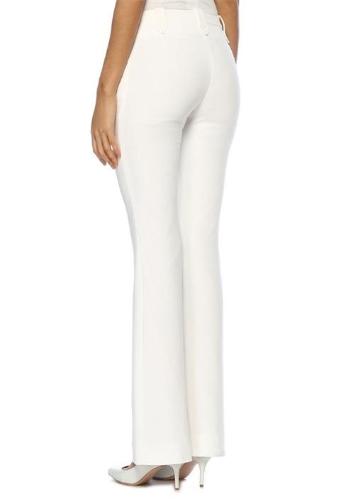Beyaz Yüksek Bel Bol Paça Pantolon