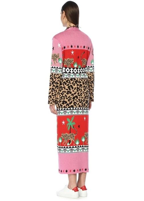 Leopardess Jakarlı Püsküllü Kuşaklı Uzun Hırka