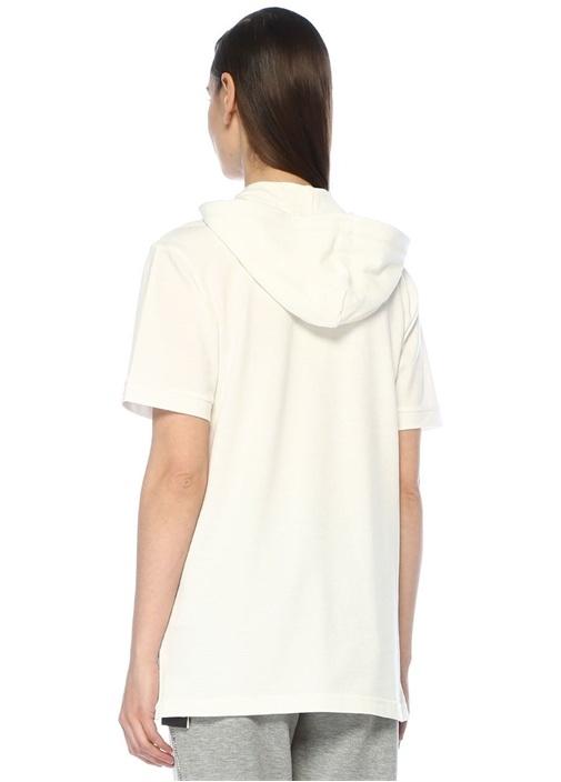 Beyaz Kapüşonlu Kısa Kol Sweatshirt