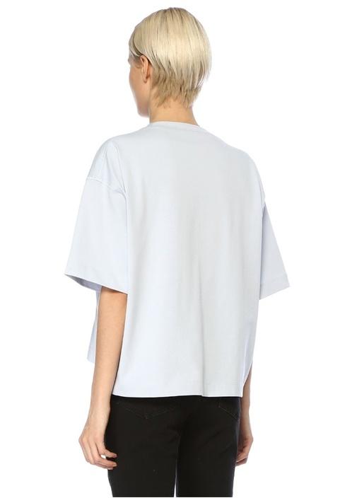 Mavi Yazı Baskılı Bol T-shirt