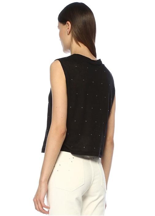 Siyah Trok Detaylı Kolsuz Keten T-shirt