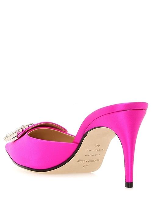 Pembe Taşlı Broşlu İpek Topuklu Ayakkabı