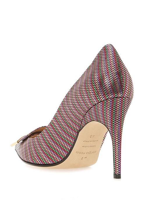 Colourblocked Mikro Desenli Topuklu Ayakkabı