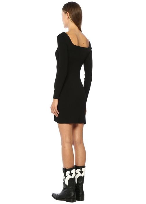 Siyah Kare Yaka Ribli Mini Triko Elbise