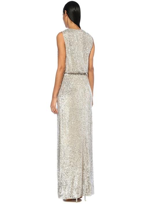 Avyllon Silver V Yaka Payetli Maksi Anvelop Elbise