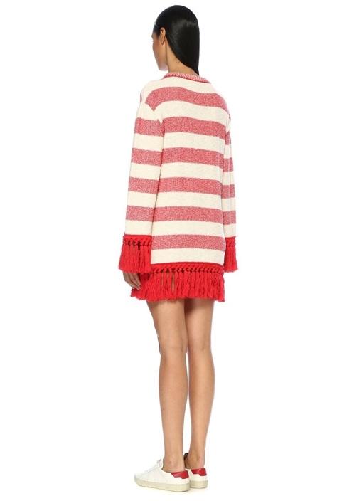 Kırmızı Beyaz Çizgili Püsküllü Mini Triko Elbise