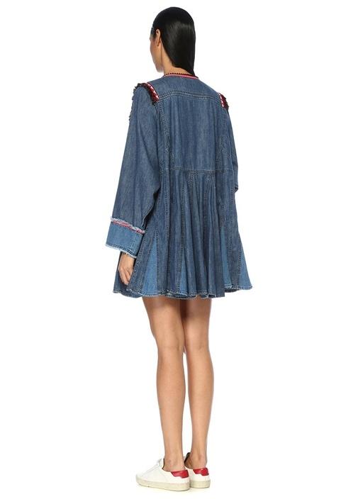 V Yaka Püskül Şeritli Yarasa Kol Mini Denim Elbise