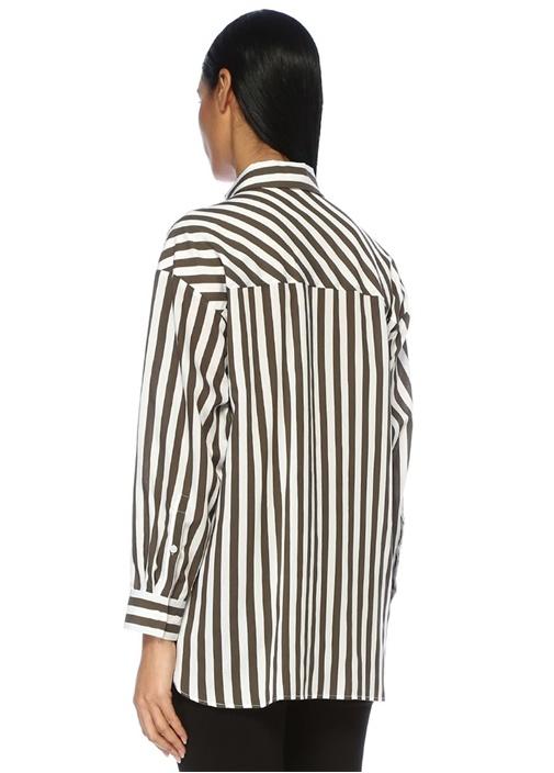 Haki Beyaz Çizgili Arkası Uzun Gömlek