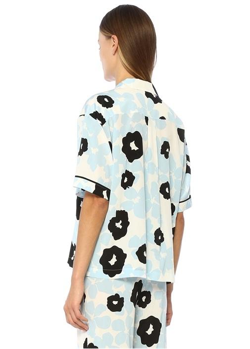Mavi Çiçek Desenli İpek Pijama Üstü