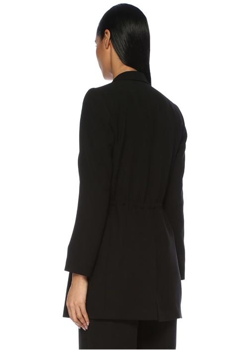 Siyah Kelebek Yaka Beli Büzgülü Krep Ceket