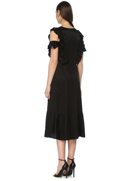 Siyah V Yaka Jakarlı Fırfırlı Kolsuz Midi Elbise