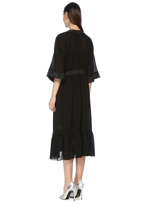 Siyah V Yaka Kimono Formlu Midi Şifon Elbise