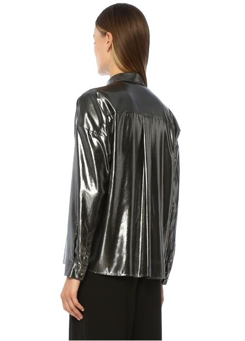 Silver Düşük Omuzlu Klasik Gömlek