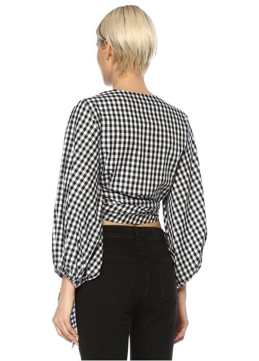 Siyah Beyaz Ekoseli Balon Kol Bağcıklı Crop Bluz