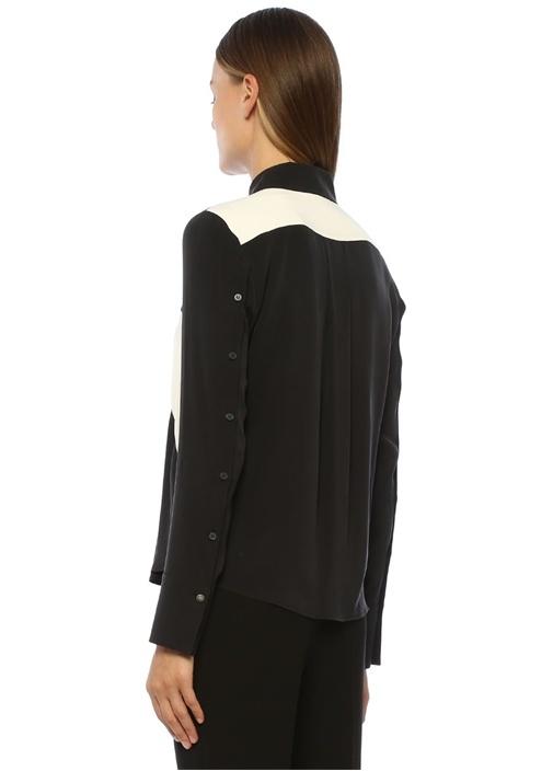 Siyah Beyaz Bloklu İngiliz Yaka İpek Gömlek