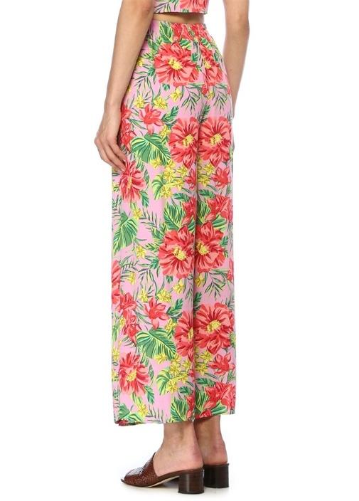 Pembe Çiçek Desenli Beli Bağcıklı Pantolon