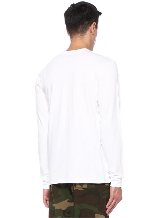 Beyaz Bisiklet Yaka Uzun Kollu T-shirt
