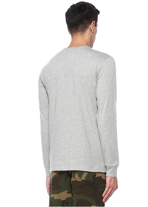 Gri Bisiklet Yaka Uzun Kollu T-shirt