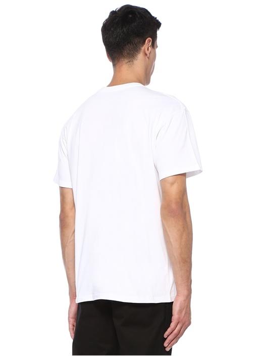 Beyaz Gold Bisiklet Yaka Logo Jakarlı T-shirt