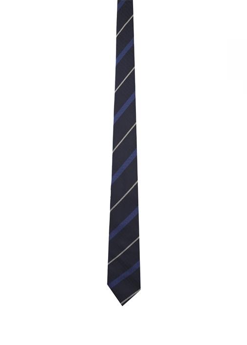 Lacivert Çizgili İpek Kravat