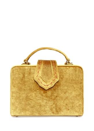 Mehry Mu Kadın Fey Sarı Dikiş Detaylı Kadife Kutu Çanta Ürün Resmi