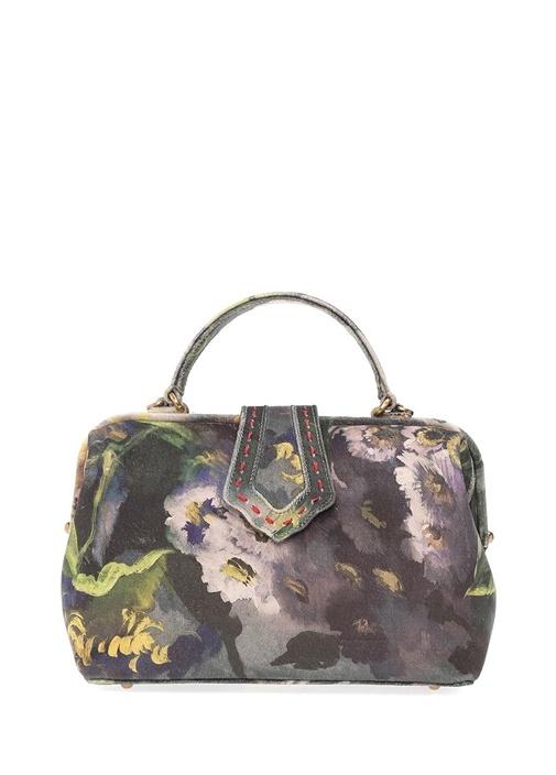 Mehry Mu Jung Yeşil Çiçekli Kadın Kadife Çanta  1749.0 TL