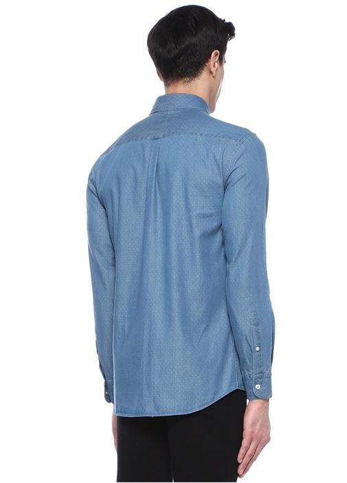Comfort Fit Mavi Düğmeli Yaka Puanlı Denim Gömlek