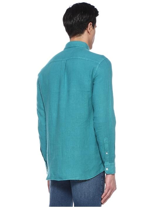 Comfort Fit Yeşil Düğmeli Yaka Keten Gömlek