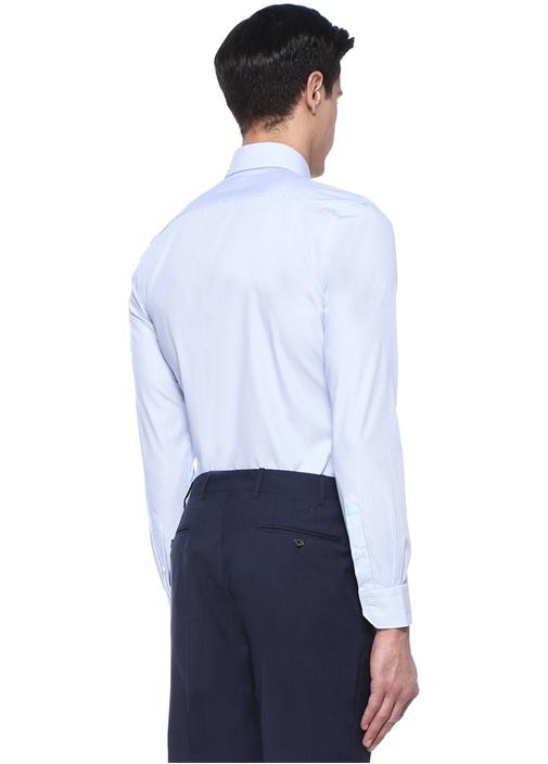 Non Iron Slim Fit Beyaz Lacivert Gömlek
