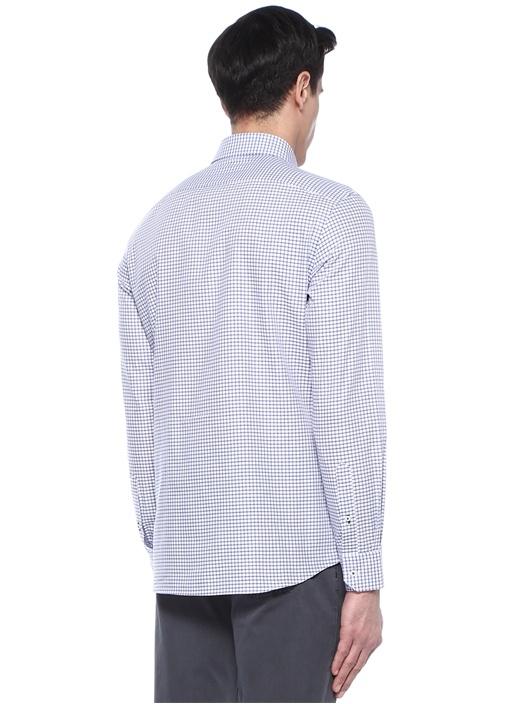 Custom Fit Mavi Düğmeli Yaka Kareli Gömlek