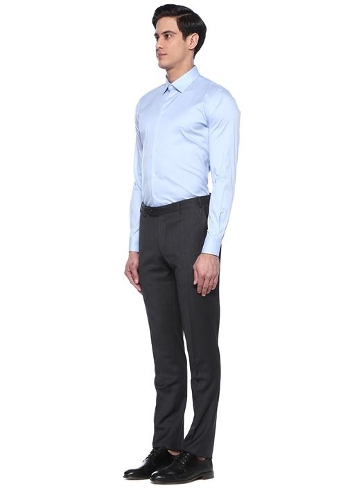 Slim Fit Mavi Modern Yaka Gömlek