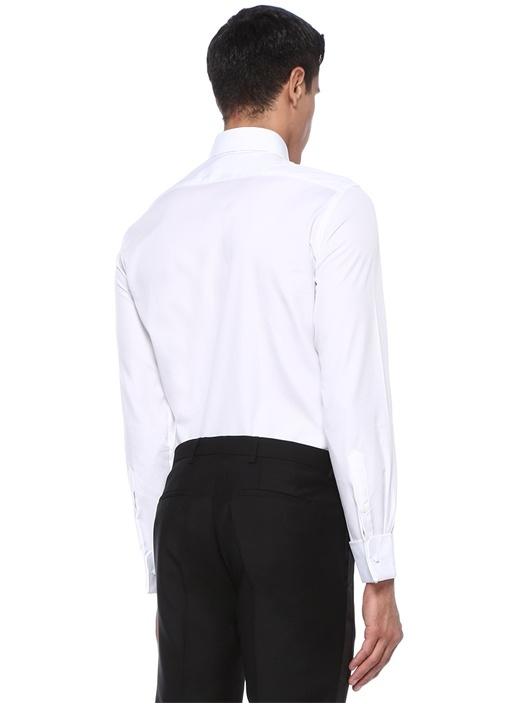 Custom Fit Beyaz Nervür Detaylı Smokin Gömleği
