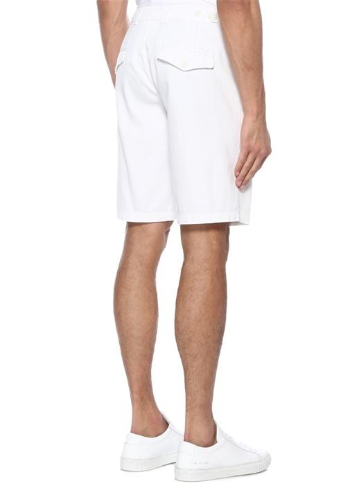 Beyaz Normal Bel Bermuda