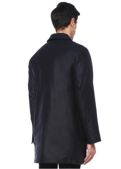Lacivert Polo Yaka Yırtmaçlı Yün Palto