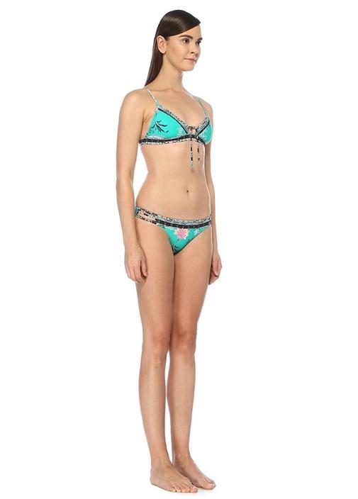 Water Garden Yeşil Bantlı Brazilian Bikini Altı