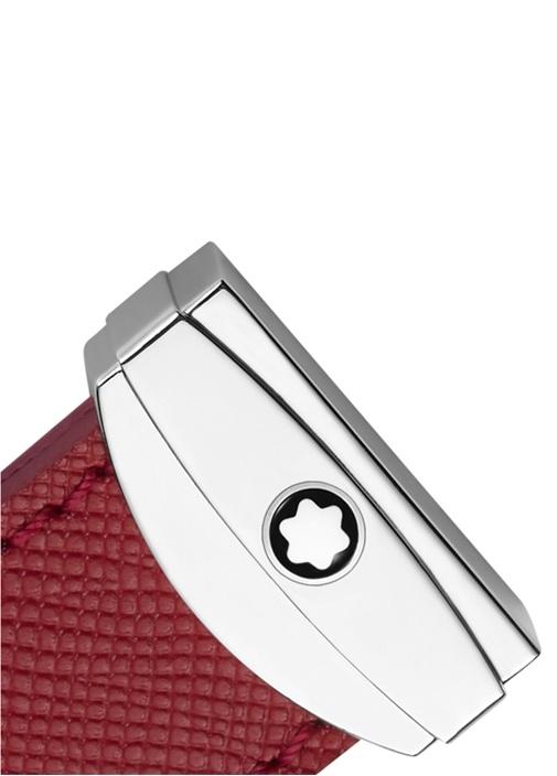 Kırmızı Silver Deri Detaylı Unisex Anahtarlık
