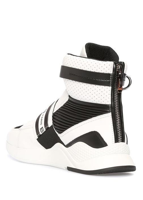 Beyaz Logolu Arkası Fermuarlı Erkek Deri Sneaker