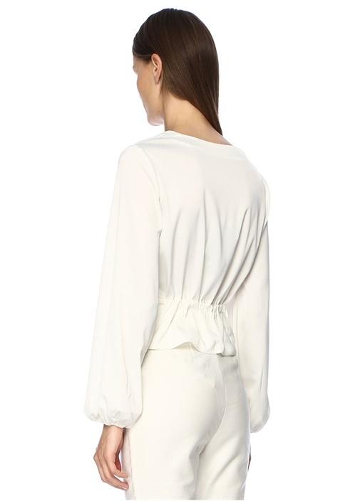 Pompeii Beyaz V Yaka Anvelop Saten Bluz