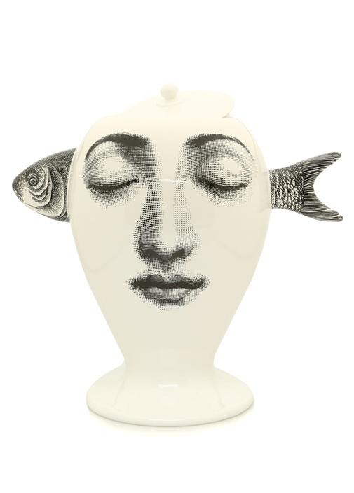 Beyaz Surat Baskılı Balıklı Seramik Vazo