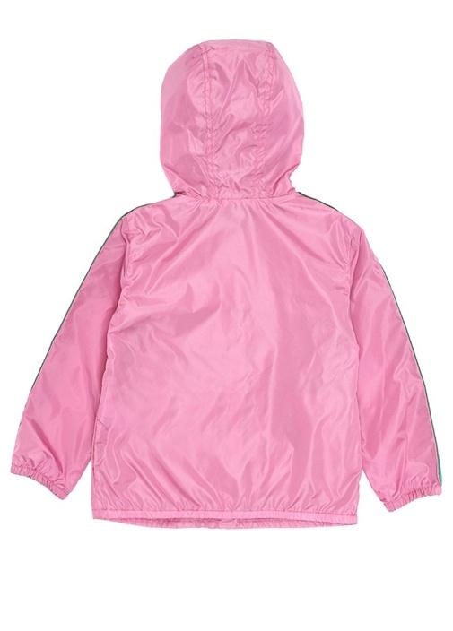 Pembe Kapüşonlu Logo Baskılı Kız Çocuk Yağmurluk